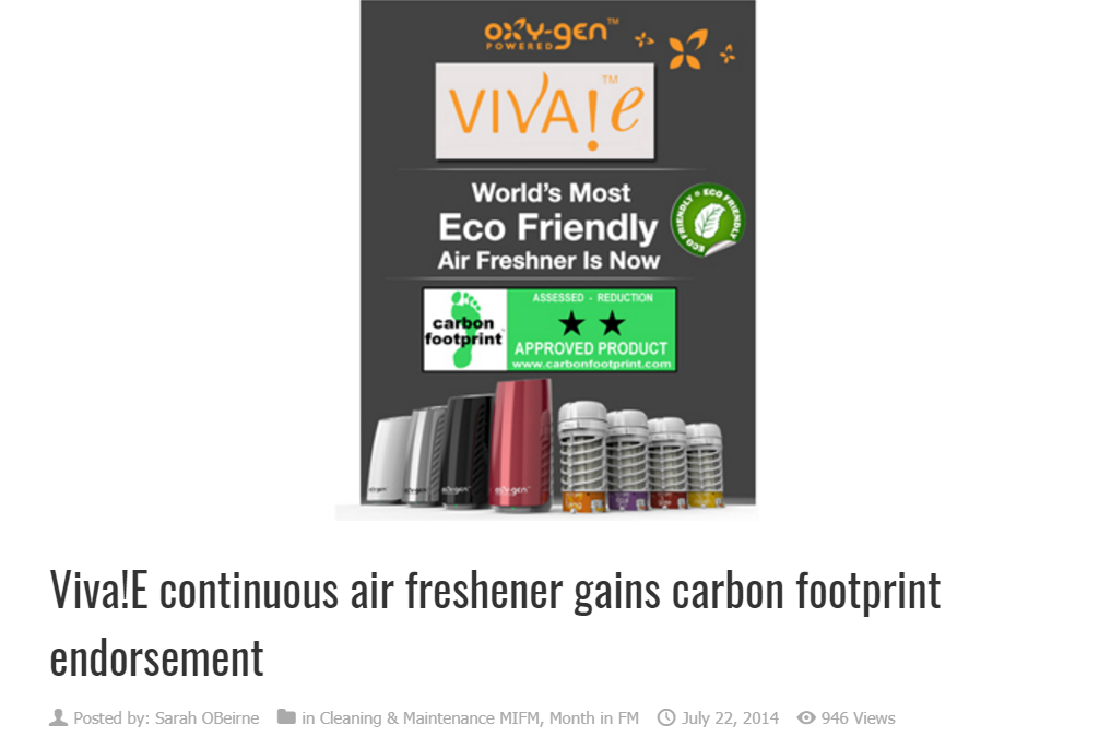 VIVA!e continuous air freshener gains carbon footprint endorsement