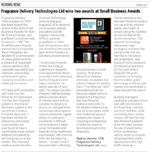 Fragrance Delivery Technologies Ltd wins two awards at Small Business Awards