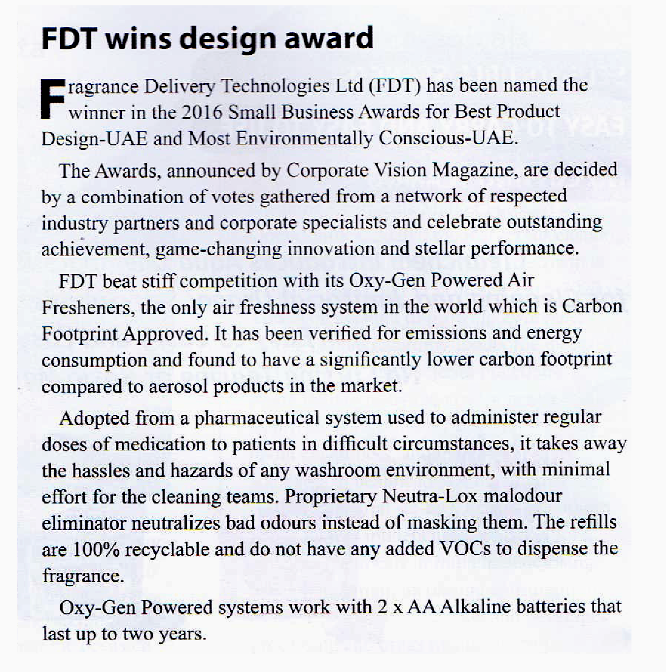 FDT wins Design Award
