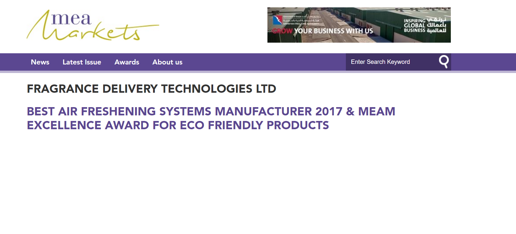 FRAGRANCE DELIVERY TECHNOLOGIES LTD BEST AIR FRESHENING SYSTEMS MANUFACTURER 2017 & MEAM EXCELLENCE AWARD FOR ECO FRIENDLY PRODUCTS
